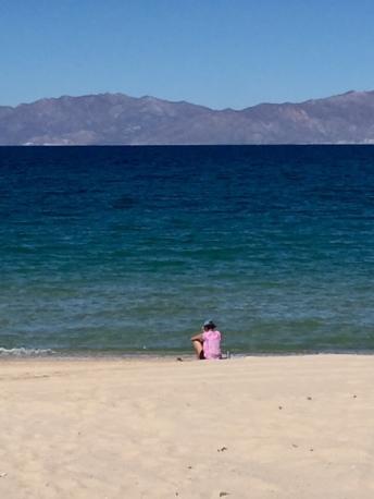 Enjoying the La Ventana beach while Mitch finishes his ride
