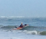 Mitch surfing his first Florida wave of this trip.