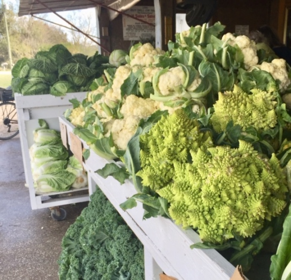 "This produce stand across the road from the trail had the biggest cabbage and cauliflower I've ever seen. And they had this beautiful vegetable called ""romanesco."""